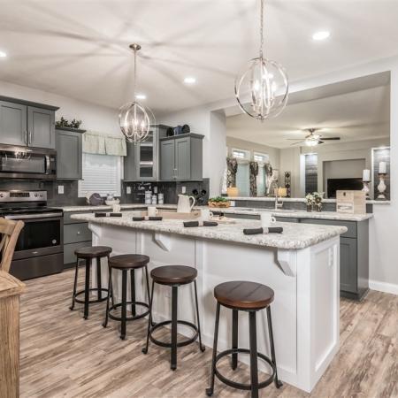 Manufactured Housing kitchen with bar.