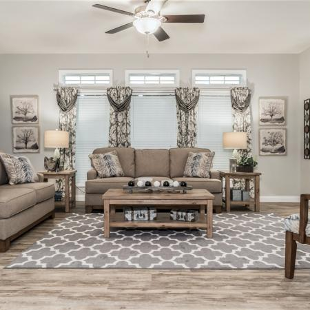 Living room of a typical manufactured home.