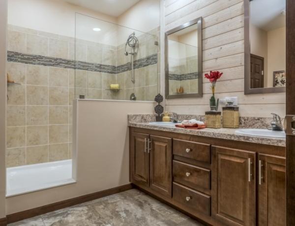Manufacture homes offer elegant bathrooms.