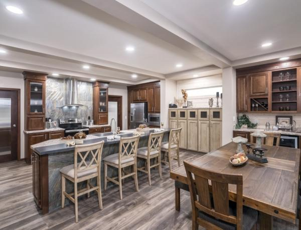 Kitchen and dining area of a manufactured home.